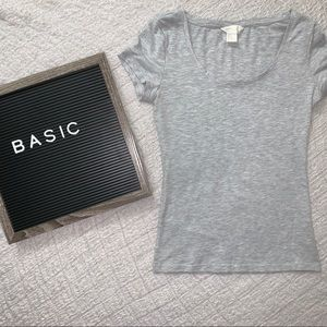 H&M Basic Grey Scoop Neck Tee